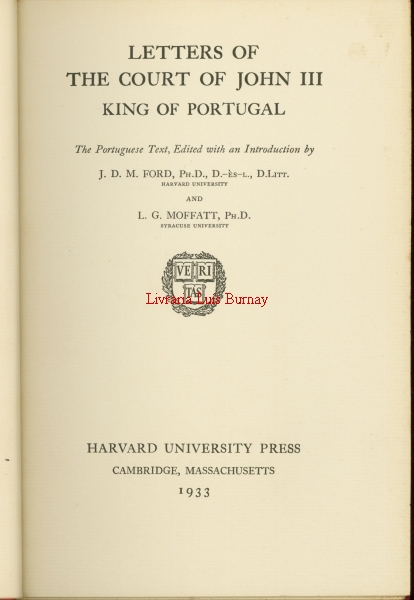Letters of the Court of John III King of Portugal : the Portuguese text, edited with an introduction by...